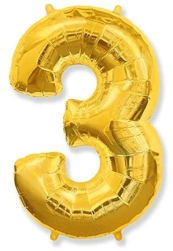 Numéro 3 GOLD Jumbo Ballon aluminium forme