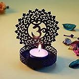 Hashcart Buddha Traditional Tea Light Candle Holder/Metal Candle Light Holder Set/Designer Votive Candle Holder Stand/Table Decorative Candle Holders For Home Living Room & Office - Black