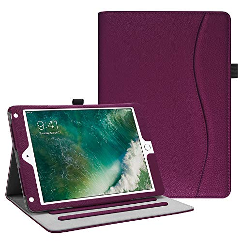 Fintie Hülle für iPad 9.7 Zoll 2018 2017 / iPad Air 2 / iPad Air - [Eckenschutz] Multi-Winkel Betrachtung Folio Stand Schutzhülle Case mit Dokumentschlitze, Auto Wake/Sleep, Lila