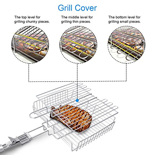51qYTWQ pnL - WolfWise Grillkorb Fischbräter, Gemüsekorb Burger Grillwender, Grillrost Grill Basket mit Abnehmbarem Griff, aus 430 Edelstahl, Rostfrei