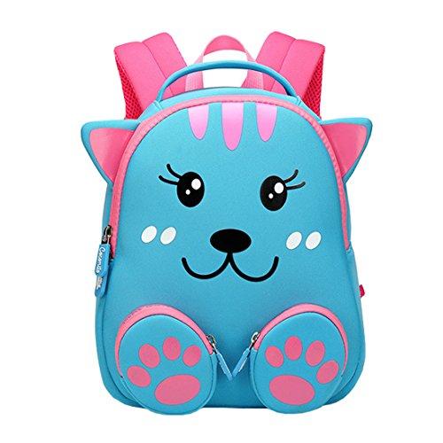 Cool&D Baby Rucksack Kindergarten Rucksack Cartoon Muster Schultasche Anti-verloren Rucksack für Jungen und Mädchen 1-3 Jahre (Rosa Katze 20 * 11 * 24cm) -