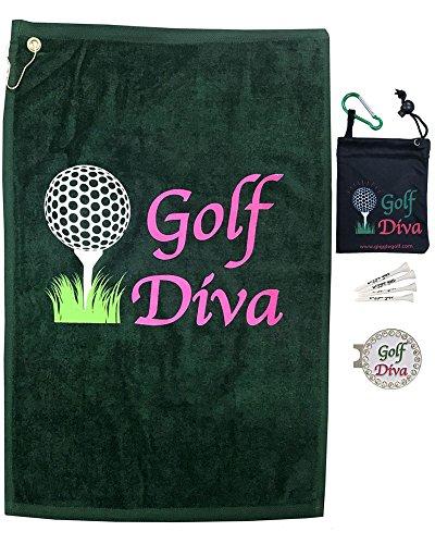 Giggle Golf PAR 3-Golf Diva Handtuch, Tee Tasche und Bling Ball Marker mit Hut Clip-perfekte Golf Geschenk für Frauen -