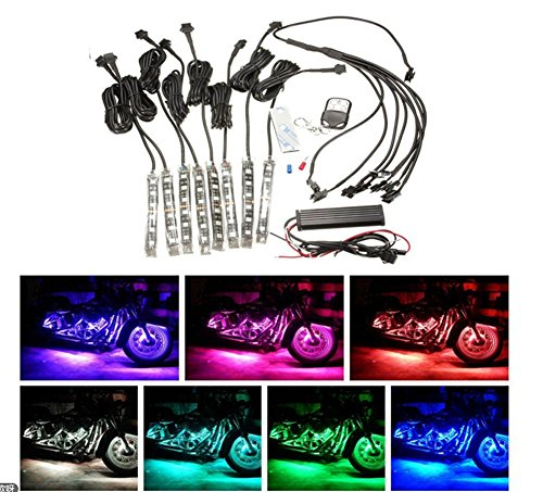 Sport family 8 x Motorrad ATV Beleuchtung Auto LED Licht Kit 6LED Multi Color Streifen Strip Neon FarbenInnenbeleuchtung Interior Lampe