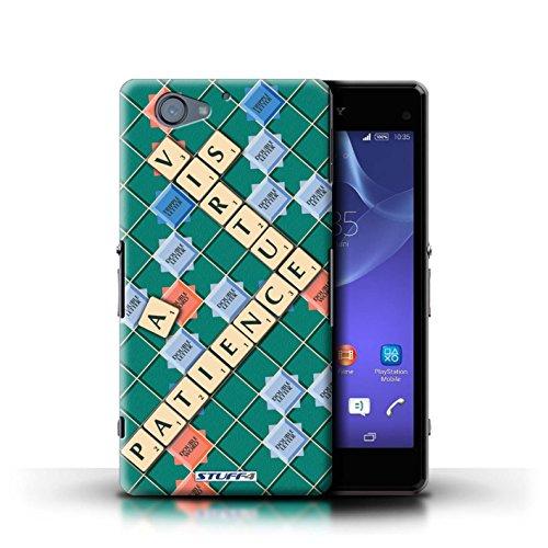 Kobalt® Imprimé Etui / Coque pour Sony Xperia A2 / Coeur Chaud conception / Série Mots de Scrabble Patience Vertu