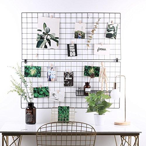 Panel de malla metálica multifuncional, para decoración en paredes, exhibidor y organizador, juego de 2piezas, tamaño 48,3 x 37,3cm, color blanco, de Rumcent