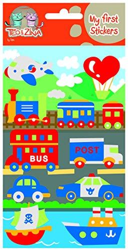 Teo & Zina Fahrzeuge Verkehrs-Brett Wandtattoo, Filz, Mehrfarbig, 9,5x 18,5x 0,2cm