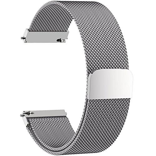 Fullmosa Milanese 20mm Uhrenarmband, Milanese Smart Watch Armand Ersatzband mit Edelstahl Magnet-Verschluss für 20mm Silber