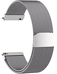 5 COLOURS FOR Milanese Watch with Stainless Steel Magnetic Clasp, Fullmosa Milanese Bracelet Smart Watch Replacement Bracelet Replacement for 18 mm 20 mm 22 mm 24 mm, 20mm, Silver
