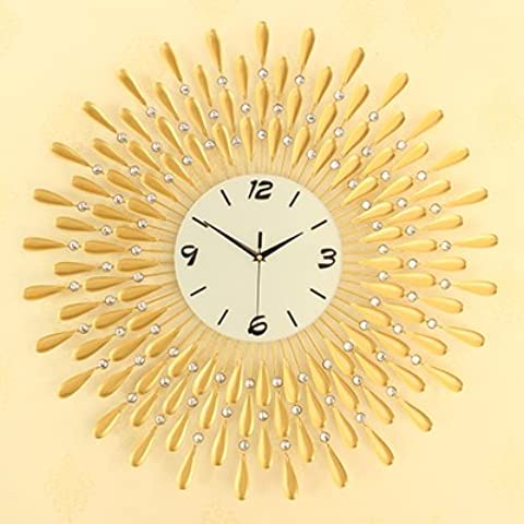 Henggang Personalidad Continental ,20 glow-en-el-pulgadas ,70cm Oro China Home Office Decoración Moda creativa vida moderna decoración colorida regalo único silencio adhesivo de pared Reloj de
