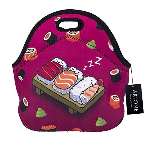 Artone sushi isolato buongustaio pranzo al sacco impermeabile neoprene sacco per il pranzo contenitore rosa