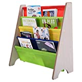 COSTWAY Kinder-Bücherregal Hängefächerregal Büchergestell Zeitungsständer mit 4 Ablagefächern