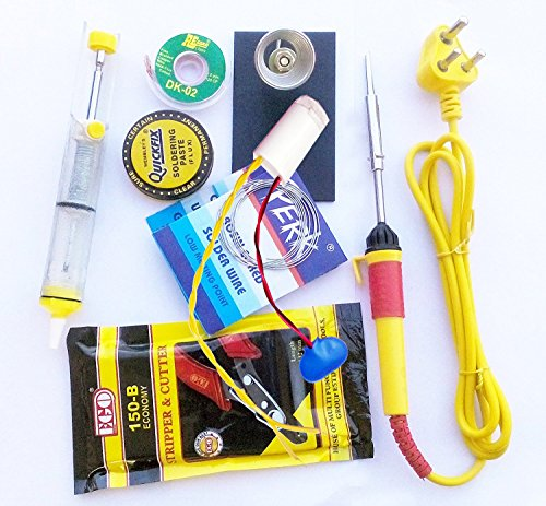 PKE 7 In 1 Yellow Soldering Iron Tool Kit With Connectivity And Components Tester (Rain/Water Senser)