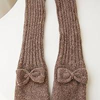 ZHGI Winter bow ladies manicotto lungo il braccio calda lana lavorato a maglia a mezze dita guanti,marrone scuro