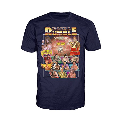 WWE Royal Rumble Character Select Official Men's T-Shirt (Navy) (Large)