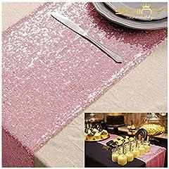 Idea Regalo - Shinybeauty - Runner da tavola in paillettes oro rosa come decorazione per matrimoni/eventi, 30 x 180 cm (colore a scelta)., Pink Gold, 30x180cm