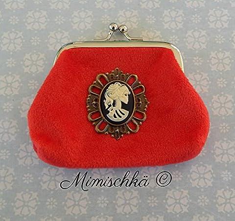 Porte-monnaie bourse velours rouge camée femme squelette gothique purse clutch red velvet cameo woman skeleton gothic