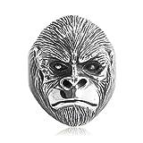 AMDXD Echtschmuck Ring Echt Silber Herren Orang-Utan Kopf Vintage Affe Silber Größe 62 (19.7)