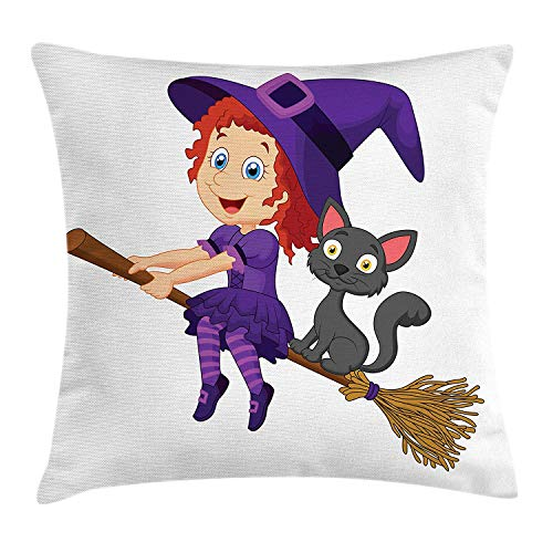 ushion Cover, Cute Happy Girl with Funny Cat Celebration Costume Joyful Party Halloween Childhood, Decorative Square Accent Pillow Case, 24 X 24 Inches, Multicolor ()