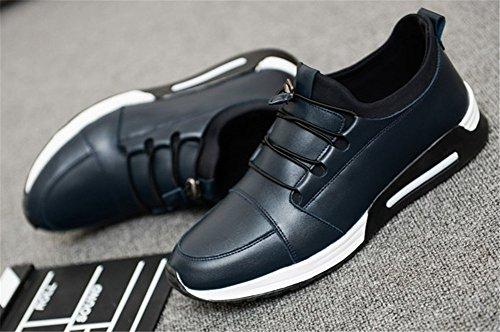 Wealsex Baskets Basses Chaussures de sport En PU Cuir Chaussures de course Chaussures Lacées Homme Bleu