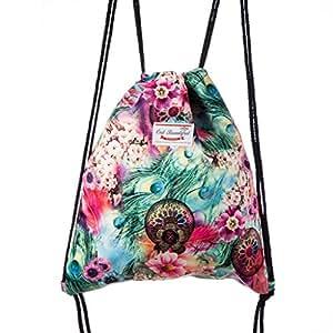 Lady Donovan - stampa Borsa Borsa iuta borsa sportiva sacco di iuta Hipster - prato di fiori