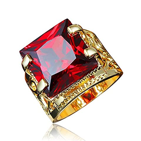 Men's Stainless Steel Red Ruby CZ Square Cut Dragon Claw Engagement Band Style Ring Gold Color Vintage Size UK Q (8)
