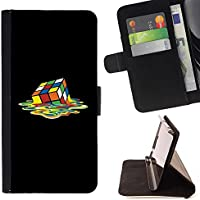 For Sony Xperia Z5 (5.2 Inch) / Xperia Z5 Dual (Not for Z5 Premium 5.5 Inch) Case , Rubiks Cube Art Colorful fusione Piazza - Portafoglio in pelle della Carta di Credito fessure PU Holster Cover in pelle case