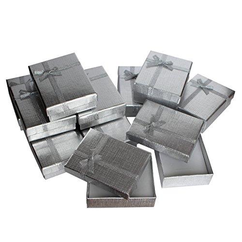 12 teiliges Geschenkboxen Set für Schmuck Ringe Halsketten - Geschenkschachtel mit Samteinlage von Kurtzy - 9 x 7 cm Präsentations Boxen - Schleife und Band Design - Steckeinlage für Ringe, (Karte Box Damast)