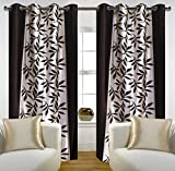 Homefab India Multi Style Modern Eyelet Polyester Long Door Curtain - 8ft, Black
