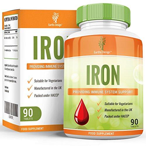 Eisen Nahrungsergänzungsmittel - Eisentabletten - Die Empfohlene Tagesdosis – Geeignet für Vegetarier - 90 Tabletten (3 Monate Vorrat) von Earths Design (Wichtige Gebäude)