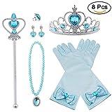 Vicloon neue Prinzessin Kostüme Set 8 Stück Geschenk aus Diadem, Handschuhe, Zauberstab, Halskette2-9 Jahre (Blau)