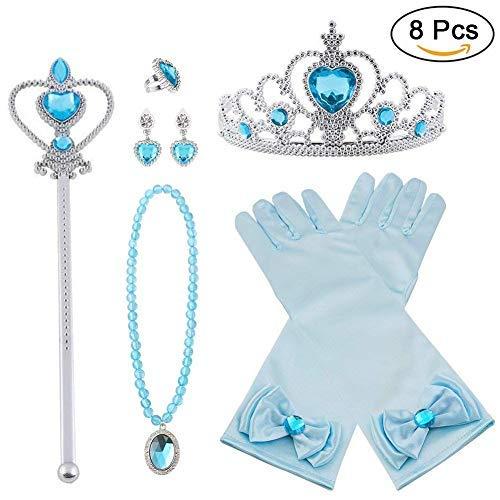 Vicloon neue Prinzessin Kostüme Set 8 Stück Geschenk aus Diadem, Handschuhe, Zauberstab, Halskette2-9 Jahre ()