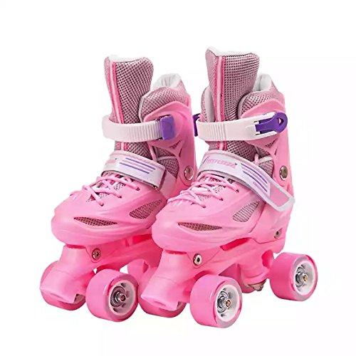Einstellbare Kinder Training Zweireihig Rollschuhe PVC Rad Triple Lock Mesh Atmungsaktive Rollerblades Für Anfänger Kleinkinder Kinder Jungen Mädchen Inline Skates,Pink-XS-Set1