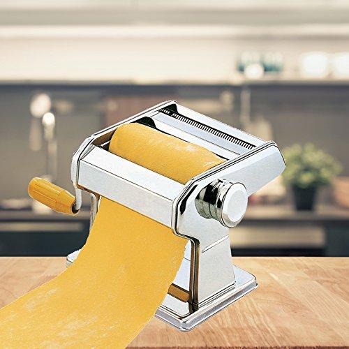 FRX Hochwertige Edelstahl Nudelmaschine 7 Nudelstärken Manuell Pastamaschine Nudel Maschine Pasta Maker (Silber)
