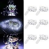 ENUOLI 6 Pack Kühles Weiß-Fee-Schnur-Licht Batteriebetriebene Lichterketten Firefly Lichter 30 LED Sterne Schnur-Lichter auf 10Ft / 3M Silvery Kupferdraht für DIY Weihnachtsdekoration Kostüm Hochzeit