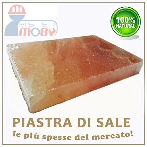 Mistermoby Piastra di Sale Rosa Himalayano Dimensioni 30x20 Centimetri per Cucinare e Servire Pane Carne Pesce Uova e altro