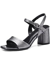 SHINIK Zapatos de mujer de cuero 2018 Spring Summer Club Shoes Sandalias Chunky Heel punta abierta de metal para...