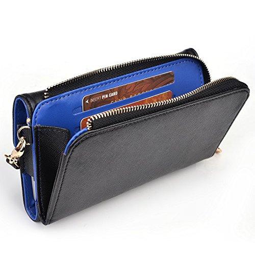 Kroo d'embrayage portefeuille avec dragonne et sangle bandoulière pour Prestigio MultiPhone 7500 Black and Orange Black and Blue