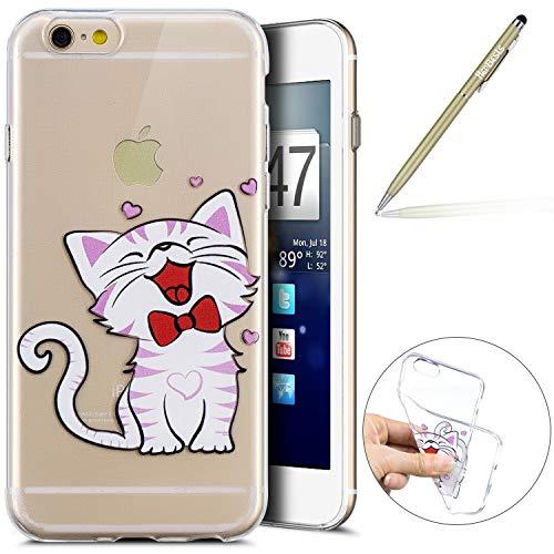 Herbests Handy Tasche für iPhone 6S Plus 5.5 Silikon Hülle Durchsichtige Schutzhülle Crystal Clear Transparent Ultra Dünn Handyhülle Silikonhülle Kristall Klar TPU Bumper,Niedlich Katze