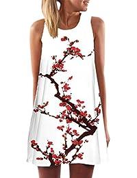 Vestido Corto sin Mangas con Estampado de Playa de Verano de Boho para Mujer