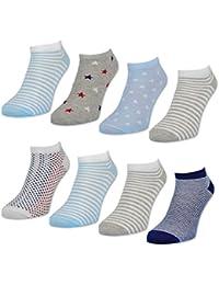 8 oder 12 Paar Damen Sneaker Socken Baumwolle Damensocken Ringel Punkte Sterne - 36800 - sockenkauf24