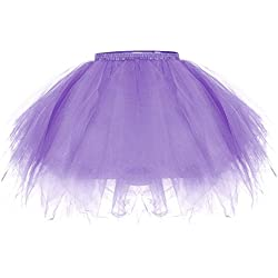 ZeWoo Mujer Adultos Mini Falda de Ballet Skirt Princesas Tutú de Tul para Baile Disfraces Fotografía Fiesta Despedida de Soltera (Púrpura)