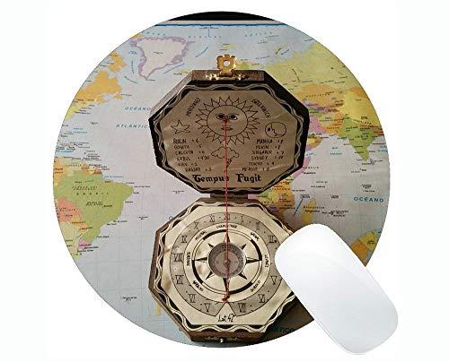 Karten-einzigartige kundenspezifische runde Mausunterlage Mousepad, Kompass-Illustration mit Beschriftungs-Kompass-runden Mausunterlagen