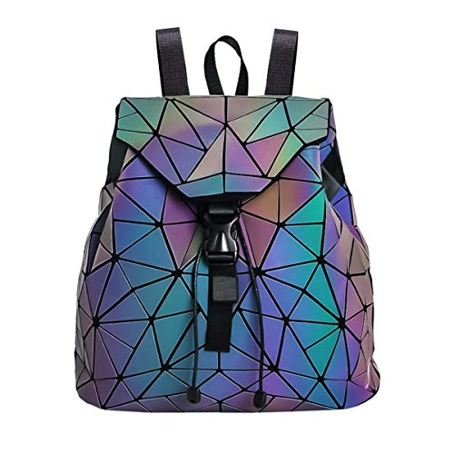 Women Geometric Backpack Lingge Laser School Backpack,Holographic  Reflective BackpacksShoulder Bags Travel College Rucksack e04e9a6ff7