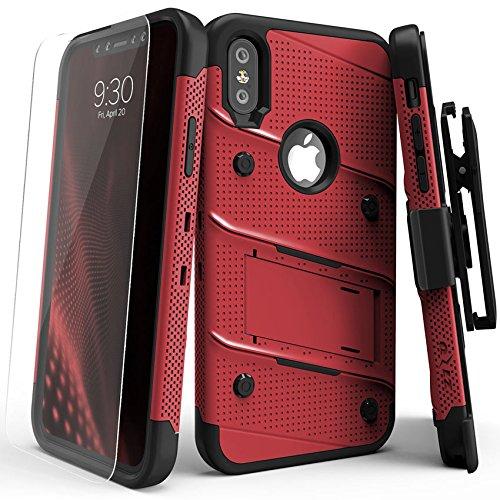 Zizo BOLT-IPH8-RDBK Tasche für Apple iPhone X, Military Grade mit Glas Displayschutz, Ständer rot