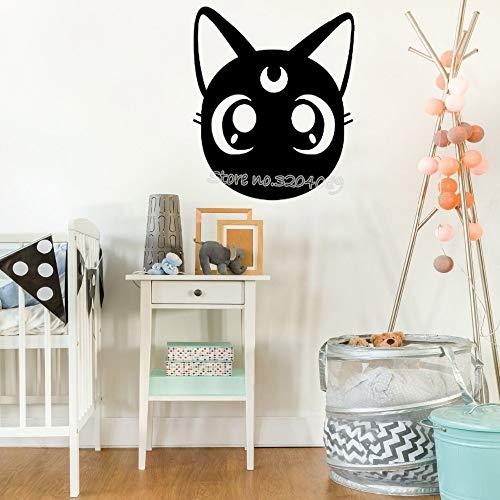 woyaofal Sailor Moon Luna Haustier Katze Wandaufkleber Nette Katze Dame Silhouette Wohnzimmer Fenster Kinderzimmer Kunstwand Tapete 42x48cm -