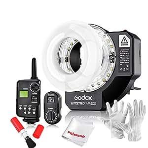 Godox Witstro AR400 leistungsstarke Ringblitz mit LED Video Licht und 16 Kanäle Blitzauslöser für Canon/Nikon Spiegelreflexkameras