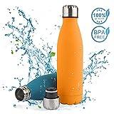 Solocil Bouteille d'eau isolée en Acier Inoxydable - Couche Double, 750ml / 500ml Bouteille d'eau isolée Revêtement résistant aux Rayures pour Garder Le Yoga, la Voiture et Le Bureau etc, sans BPA