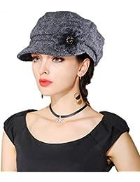 EINSKEY Mütze Damen Elegant Winter Warm Schirmmütze Schwarz Grau Ballonmütze Barett mit Visor