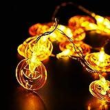 Candle Light TAOtTAO Halloween-flacher Kürbis, der warme weiße Batterie beleuchtet (M)
