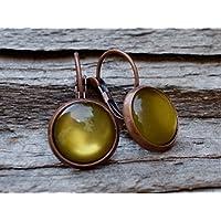 Vintage CABOCHON Ohrringe - olivgrün - kupfer